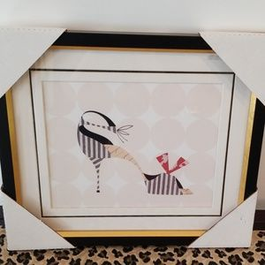 Framed and matted shoe print